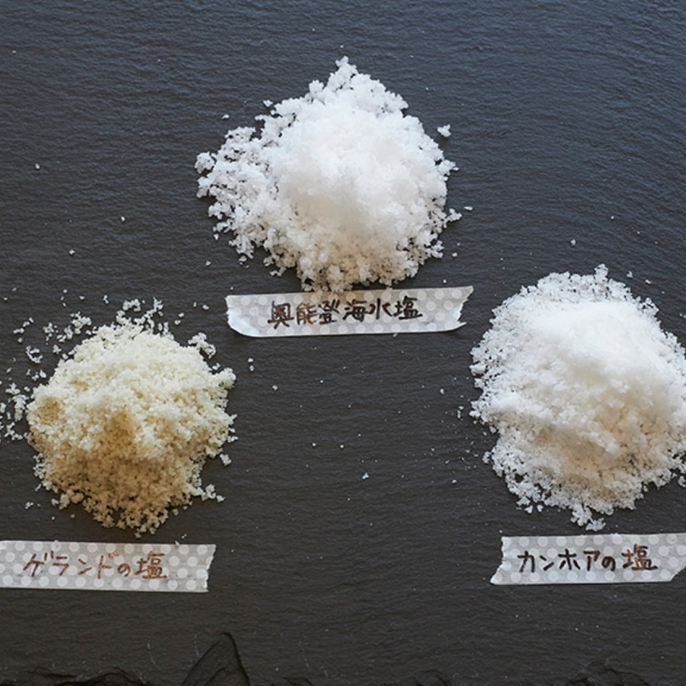 カンホアの塩、奥能登海水園、ゲランドの塩