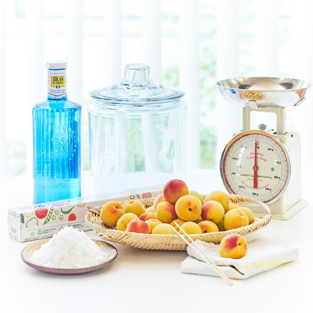 準備するもの 完熟梅 塩 はかり ふきん 竹串 つけ瓶 重しになるもの ラップ